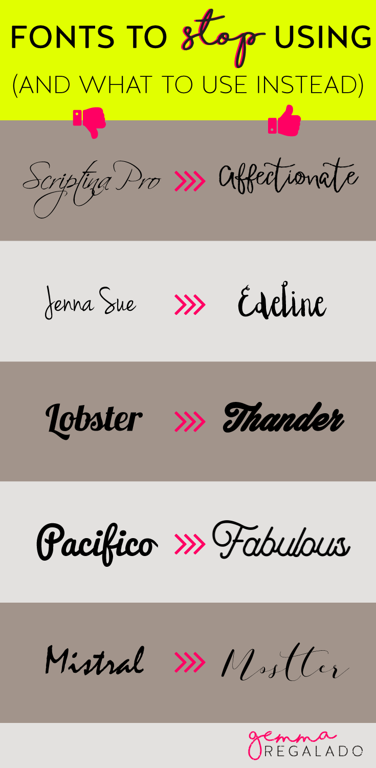 Script fonts not to use and alternatives